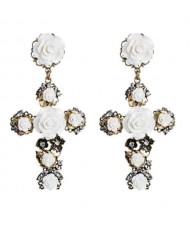 Roses Embellished Baroque Cross U.S. Fashion Women Statement Earrings - White