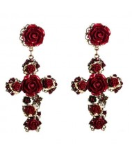 Roses Embellished Baroque Cross U.S. Fashion Women Statement Earrings - Red