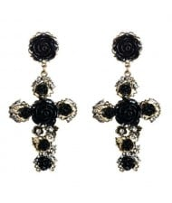Roses Embellished Baroque Cross U.S. Fashion Women Statement Earrings - Black