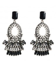 Rhinestone Embellished Bold Bohemian Fashion Hoop Tassel Women Earrings - Black