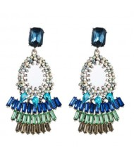 Rhinestone Embellished Bold Bohemian Fashion Hoop Tassel Women Earrings - Blue