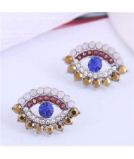 Blue Eye Design Unique Korean Fashion Women Costume Earrings