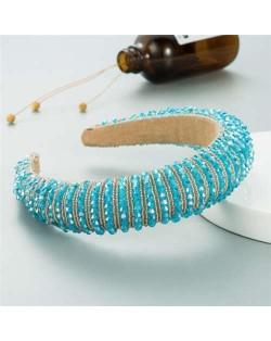 Crystal Embellished Baroque Spring Fashion U.S. Popular Sponge Women Headband - Ice Blue