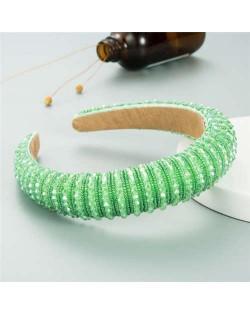 Crystal Embellished Baroque Spring Fashion U.S. Popular Sponge Women Headband - Green