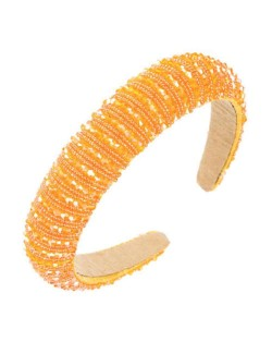 Crystal Embellished Baroque Spring Fashion U.S. Popular Sponge Women Headband - Orange