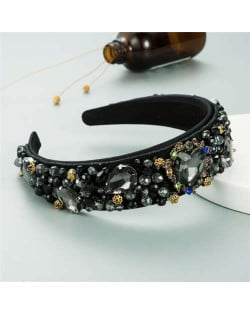 Crystal and Glass Drill Hearts Embellished Luxurious Design Bejeweled Women Headband - Black
