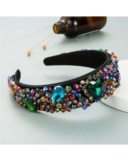 Crystal and Glass Drill Hearts Embellished Luxurious Design Bejeweled Women Headband - Multicolor
