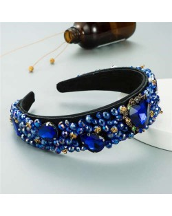 Crystal and Glass Drill Hearts Embellished Luxurious Design Bejeweled Women Headband - Royal Blue