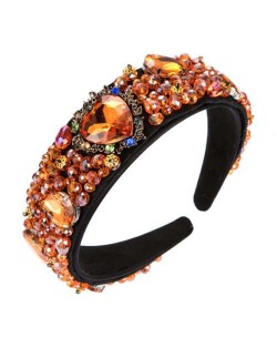 Crystal and Glass Drill Hearts Embellished Luxurious Design Bejeweled Women Headband - Orange