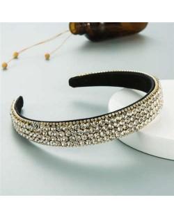 Shining Rhinestone Embellished Korean Fashion Women Bejeweled Headband - White
