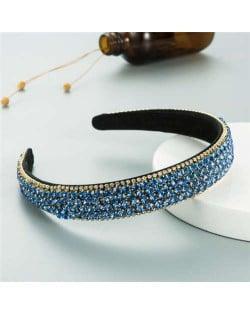 Shining Rhinestone Embellished Korean Fashion Women Bejeweled Headband - Light Blue