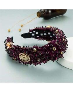 Baroque Luxurious Fashion Crystal Beads Embellished Bowknot Design Women Bejeweled Headband - Purple