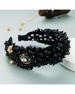 Baroque Luxurious Fashion Crystal Beads Embellished Bowknot Design Women Bejeweled Headband - Black