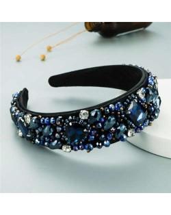 Super Shining Rhinestone and Glass Drill U.S. High Fashion Women Bejeweled Headband - Blue