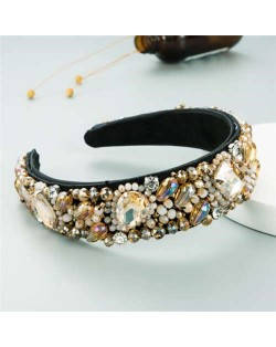 Super Shining Rhinestone and Glass Drill U.S. High Fashion Women Bejeweled Headband - Brown