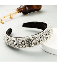 Baroque Maximum Bejeweled High Fashion Women Headband - White