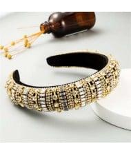Baroque Maximum Bejeweled High Fashion Women Headband - Golden