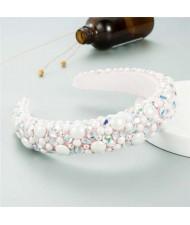 Resin Beads and Rhinestone Decorated Euro and U.S. High Fashion Women Headband - White
