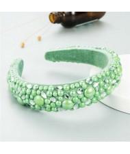 Resin Beads and Rhinestone Decorated Euro and U.S. High Fashion Women Headband - Green