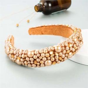 Resin Beads and Rhinestone Decorated Euro and U.S. High Fashion Women Headband - Brown