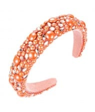 Resin Beads and Rhinestone Decorated Euro and U.S. High Fashion Women Headband - Orange