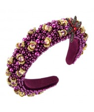 Dragonfly and Flowers Attached Rhinestone and Crystal Beads High Fashion Women Headband - Purple