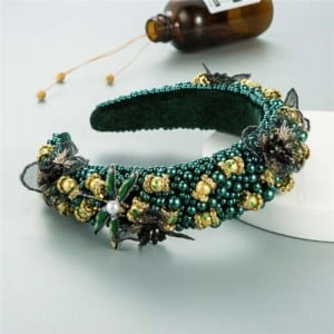 Dragonfly and Flowers Attached Rhinestone and Crystal Beads High Fashion Women Headband - Green