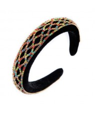 Rhinestone Net Design Baroque Fashion Women Headband - Multicolor