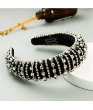 Delicate Rhinestone Inlaid Super Shining Fashion Women Sponge Headband - White