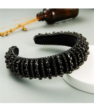 Delicate Rhinestone Inlaid Super Shining Fashion Women Sponge Headband - Black