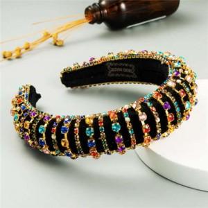 Delicate Rhinestone Inlaid Super Shining Fashion Women Sponge Headband - Multicolor