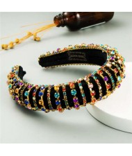 Delicate Rhinestone Inlaid Super Shining Fashion Women Sponge Headband - Multicolor