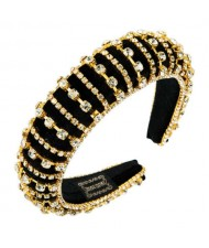 Delicate Rhinestone Inlaid Super Shining Fashion Women Sponge Headband - Golden