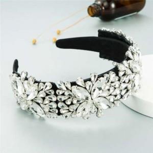 Maximum Shining Effect Glass Drill Flowers U.S. High Fashion Women Headband - White