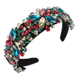 Maximum Shining Effect Glass Drill Flowers U.S. High Fashion Women Headband - Multicolor