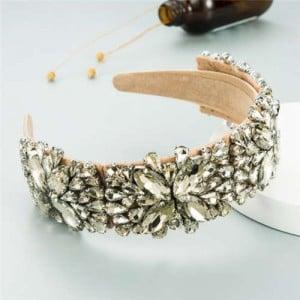 Maximum Shining Effect Glass Drill Flowers U.S. High Fashion Women Headband - Khaki