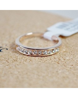 Single-row Austrian Crystal Drilling Rose Gold Ring