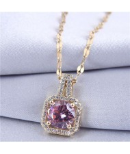 Elegant Four Claws Cubic Zirconia Embellished Square Pendant High Fashion Women Necklace - Golden and Purple