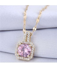 Elegant Four Claws Cubic Zirconia Embellished Square Pendant High Fashion Women Necklace - Golden and Violet