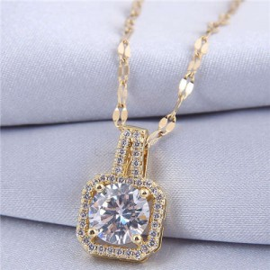 Elegant Four Claws Cubic Zirconia Embellished Square Pendant High Fashion Women Necklace - Golden and White