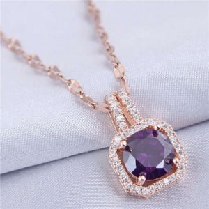 Elegant Four Claws Cubic Zirconia Embellished Square Pendant High Fashion Women Necklace - Rose Gold and Purple
