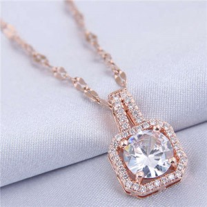 Elegant Four Claws Cubic Zirconia Embellished Square Pendant High Fashion Women Necklace - Rose Gold and White