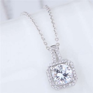 Elegant Four Claws Cubic Zirconia Embellished Square Pendant High Fashion Women Necklace - Platinum and White