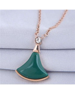 Resin Gem Inlaid Seashell Pendant Korean Fashion Women Costume Necklace - Green