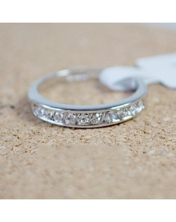 Single-row Austrian Crystal Drilling Platinum Plated Alloy Ring