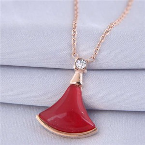 Resin Gem Inlaid Seashell Pendant Korean Fashion Women Costume Necklace - Red