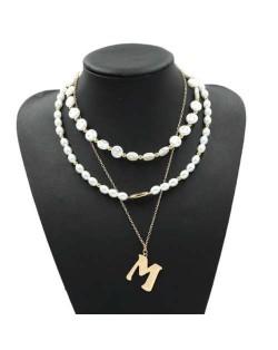 Golden Alphabet M Pendant Multi-layer Pearl Fashion Women Statement Necklace