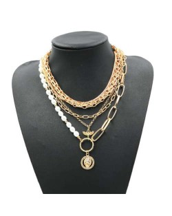 Lion Head Golden Hip Hop Fashion Multi-layer Women Statement Necklace