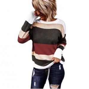 U.S. High Fashion Contrast Strips Design Women Top - Red
