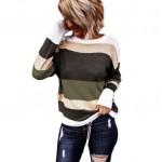 U.S. High Fashion Contrast Strips Design Women Top - Green